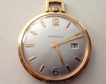 1970 Bulova Caravelle 17J Concave Wind up Pocket Watch and Date works