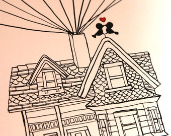 Custom Wedding Guestbook Alternative Flying House, Hand-drawn, Thumbprint and Signature Guestbook, Free Gift with Purchase