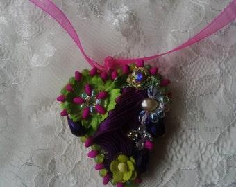 shibori heart pendant purples and lime greens
