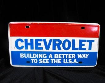 Vintage Chevrolet Dealers License Plate - Dealership Plate, Rare Chevy Plate, Retro Dealership Plate