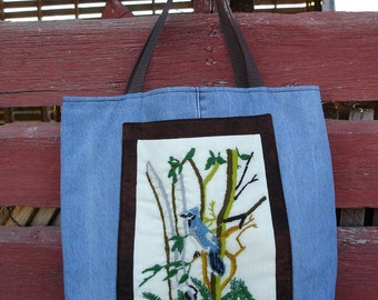 Crewel Needlework and Denim Upcycled Tote