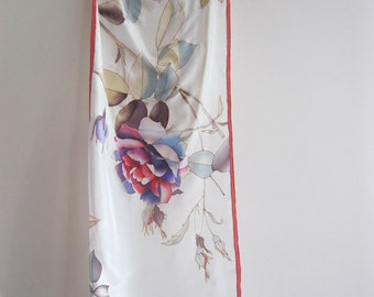 Silk scarf Hand painted Botanical wearable art Wedding accessories - made TO ORDER