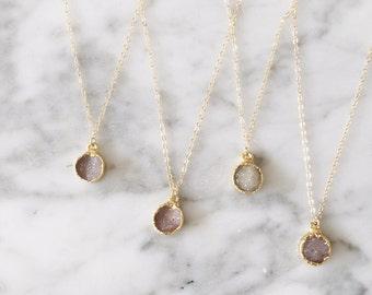 Druzy Bridesmaids Sets // bridesmaids set // druzy bridesmaids gifts // bridesmaids necklaces // lavender druzy