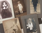 Antique Cabinet Card Collection Young Boys in Bowties and Hats Sepia Spooky