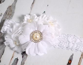 Girls Hair Accessories-Baptism Headband-White-Shabby-Flower-Cluster-Pearl-Christening-Wedding-Flowers for Hair-Bridesmaid-Flower Girl