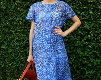 50% Off Vintage Dress, 1980s Dress, Vintage Japanese Dress, Vintage Womens Dress, Summer Dress, Boho Dress, 80s Dress, Blue Leopard Dress