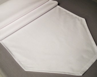 Solid color WHITE table runner, white table cover, neutral table decor, wedding table linens, custom lengths and colors, made to order