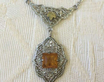 Ambers Vintage Rhodium Plate Art Deco Citrine Gold Leaf Filigree Necklace Glass Silver Elegant