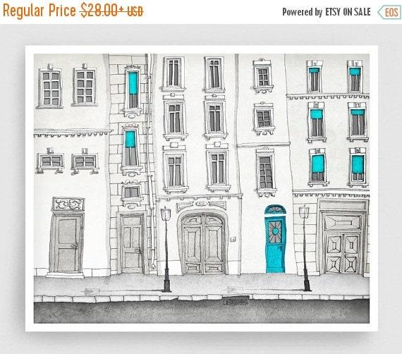 20% OFF SALE: The magic door - Paris illustration Art Illustration Print Poster Paris decor Art Print Home decor Kids wall art Paris facade