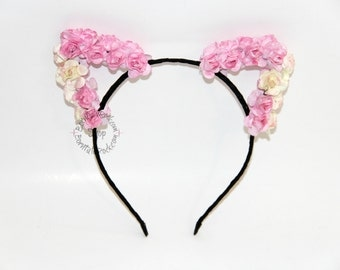 Cat Ears // Pink Cat Ears // Flower Cat Ears // Reversible Cat Ears // by Born Tutu Rock
