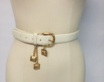 Vintage Anne Klein Genuine Leather Belt Lion Logo Metal Hanging Decorations Chain designer belt anne klein belt lion belt Oroton belt