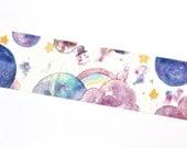 Rabbit Washi Tape - Bunny Washi Tape - Planet Washi Tape - Fairytale Washi Tape - Water Color Washi Tape - Rabbit Masking Tape - 10 meters