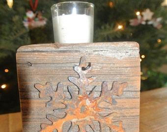 Snowflake - Reclaimed Wood Votive Candleholder