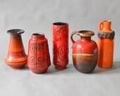 Vintage Scheurich vase collection Mid-Century, Fabiola Vase, red vase collection