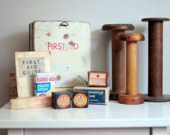 Vintage First Aid Kit with Contents - Johnson & Johnson First Aid Kit No. 20 with Vintage Medical Supplies Bandages and More