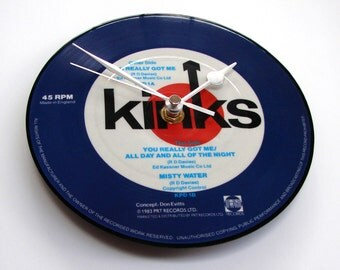 "THE KINKS Record Clock ""You Really Got Me"" made from a recycled vinyl 7"" record picture disc Retro vintage gift for dad mom husband brother"