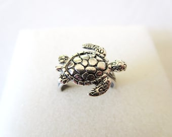 Turtle RING - turtleblue necklace - Animal Rings, Turquoise Jewelry -Adjustable Ring