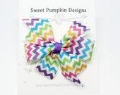 Hair Bow. Girl Bow. Pinwheel Clip. Chevron Clip. Purple Pink Turquoise Bow. Rainbow Chevron. Barrette. Toddler Hair Accessory HC1247
