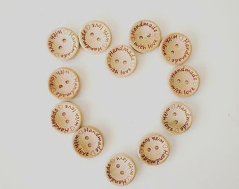 Handmade With Love Buttons for Crafting Finish Touch to Your Handmade Items Knit Sewing Crochet Project 20 mm