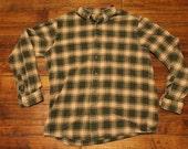 Eddie Bauer shirt - green plaid grunge heavy flannel shirt - mens large