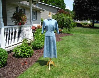40's. 50's powder blue knit suit, 2 pc dress, 3/4dolman sleeves, geometric knit design, jeweled collar, Jane Irwill