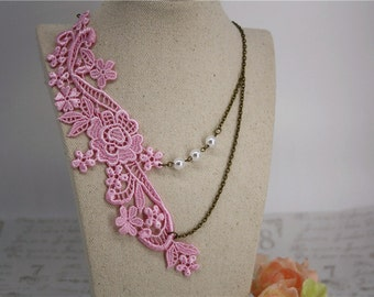 pink Lace necklace vintage flower pearl handmade retro bronze jewellery accessory floral statement simply elegant