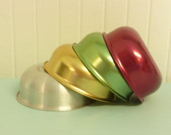 Set of Bowls, Four 1960s Anodized Aluminum, Cereal, Ice Cream, Kid Sized - Vintage Travel Trailer and Home Decor