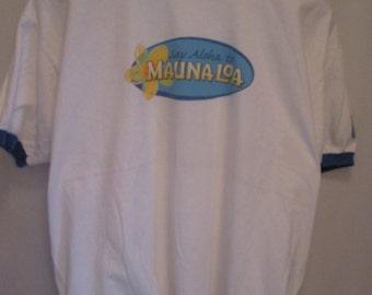 vintage,'say aloha to'  MAUNA LOA 'taste of the islands' macadamia nuts promotional ringer T shirt size XL