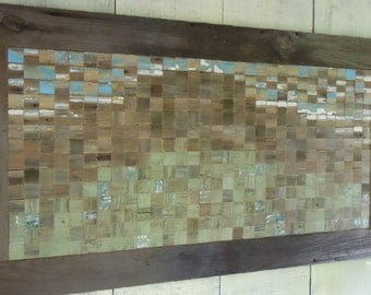 """Barn Wood Huge Original Artwork 1880's Reclaimed wood Tile Mosaic """"Maui on my mind"""""""