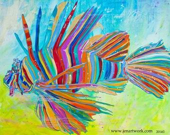 Lionfish Profile-Art by Jen Callahan Tile,Cuttingboard,Paper Print