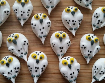 Royal icing snowy owls  -- Edible handmade cupcake toppers cake decorations  (12 pieces)