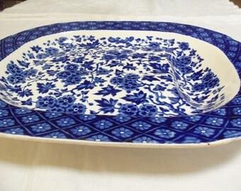 1880 Ridgway Ironstone Meat Platter/Draining Well Tree/ Blue  White Hawthornden Pattern/Thanksgiving Dinner/Turkey Platter/Serving Item/