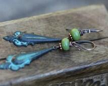 Boho Gipsy Verdigris Filigree patina earrings n242- delicate elongate . lead and nickel free metal . brass patina earrings . celtic style