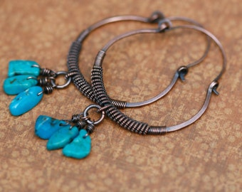 Rustic Wrapped Coiled Turquoise  Hoops Earrings n65 - Medium to Large . Artisan Coiled Hoops with Turquoise chips stones . solid copper