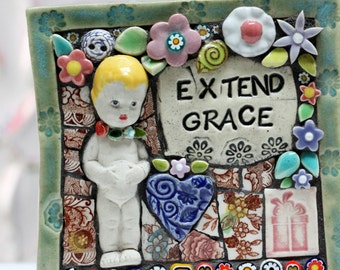 EXTEND GRACE Outdoor/Indoor Mosaic Art, Garden art