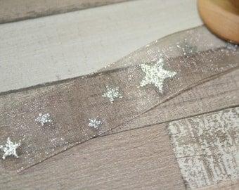 Silver Star Organza Christmas Ribbon, Christmas, By the Metre, Christmas,