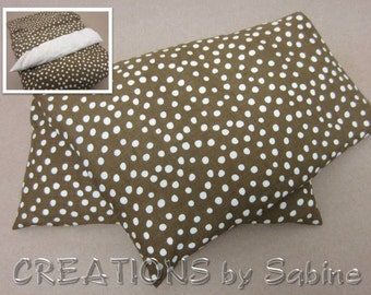 Corn Heating Pad Pack Washable Cover Microwave Bag Wrap Corn Pillow Cold Pack brown white polka dots hipster READY TO SHIP (262)