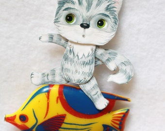 Articulated paper doll with moving eyes puppet kraft Cat
