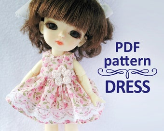 PDF pattern Dress with crochet flower for Lati yellow / PukiFee bjd