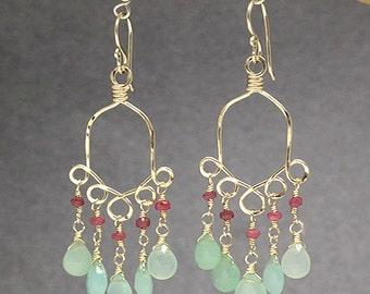Chandelier gemstone earrings pink ruby and chrysoprase Calypso 33