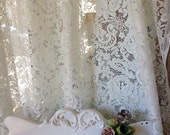 Vintage ivory  lace floral panel by herminas cottage shabby chic lace panels by herminas cottage