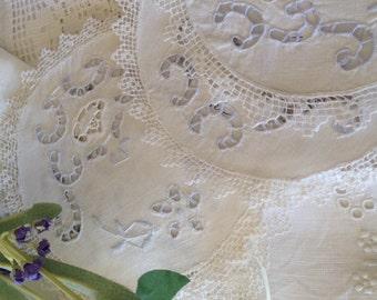 Vintage lace cut work doilies shabby chic lace coaster vintage cottage lace piece by herminas cottage
