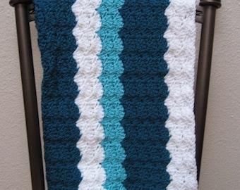 Crochet Baby Afghan Stroller Blanket Shell Ripple Teal Turquoise White