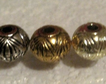 15MM, Ornate, Lucite, Spacer, Oval, Bead,  Large Hole,  Antique Silver , Antique Brass, or  Gold