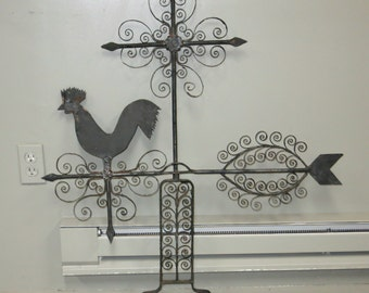 Vintage Rooster Wrought Iron Weathervane