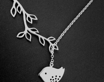 SALE!! Bird and Branch Lariat Necklace -Bird charm, Leaf Pendant Necklace,wedding jewelry Bridal necklace Bridesmaid Gift Christmas Gift