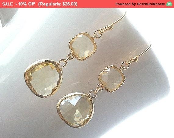 Autumn in Love Citrine Earrings, Gold Drop Earrings - Dangle Earrings,bridesmaid gifts,Wedding Earrings,christmas earrings, cocktail jewelry