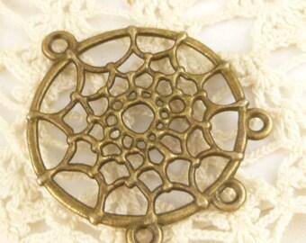 Antiqued Bronze Dream Catcher Charms Pendants (4) - A63