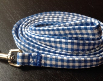 Dog leash - Blue Gingham