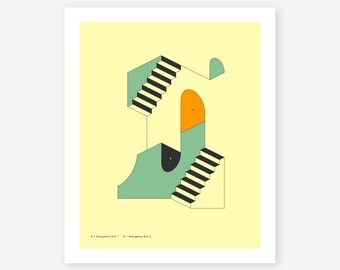Giclée Fine Art Print, Minimal, Abstract, Surreal Artwork by Jazzberry Blue 'EMERGENCY EXITS #9'